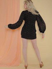 Annika Dress Gold Polka Dot Mini Back