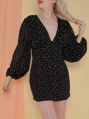 Annika Dress Gold Polka Dot Mini Front