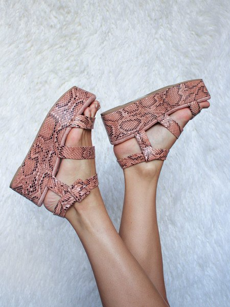 Blondie Wedge Pink Snake Pattern Platform Sandals