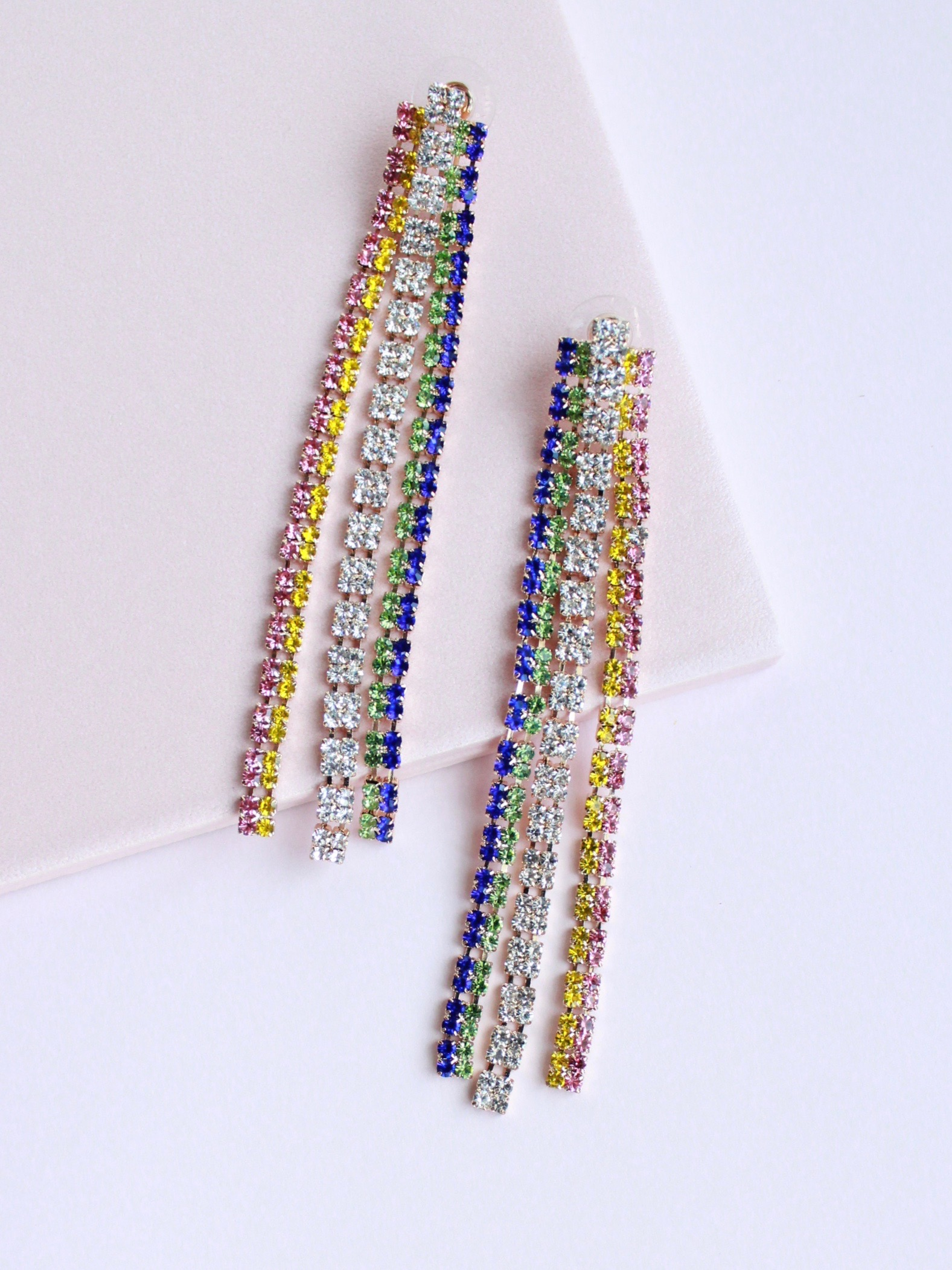 Color Line Earrings Cascading Rainbow Color Dangle Studs