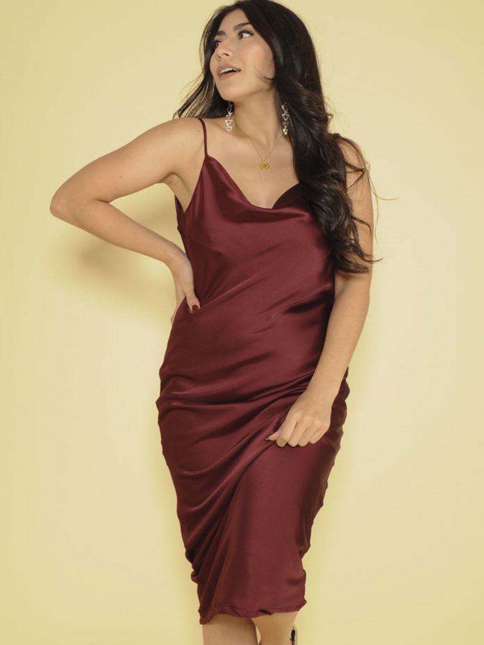 Melissa Dress Sleek Silky Midi Burgandy Front