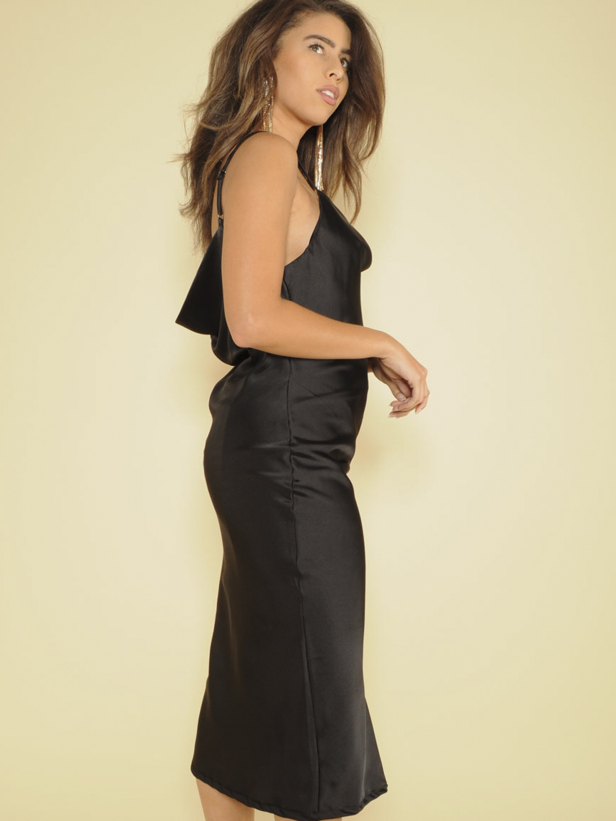 Melissa Dress Sleek Silky Midi Black Side