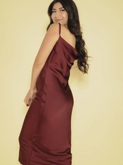 Melissa Dress Sleek Silky Midi Burgandy Side
