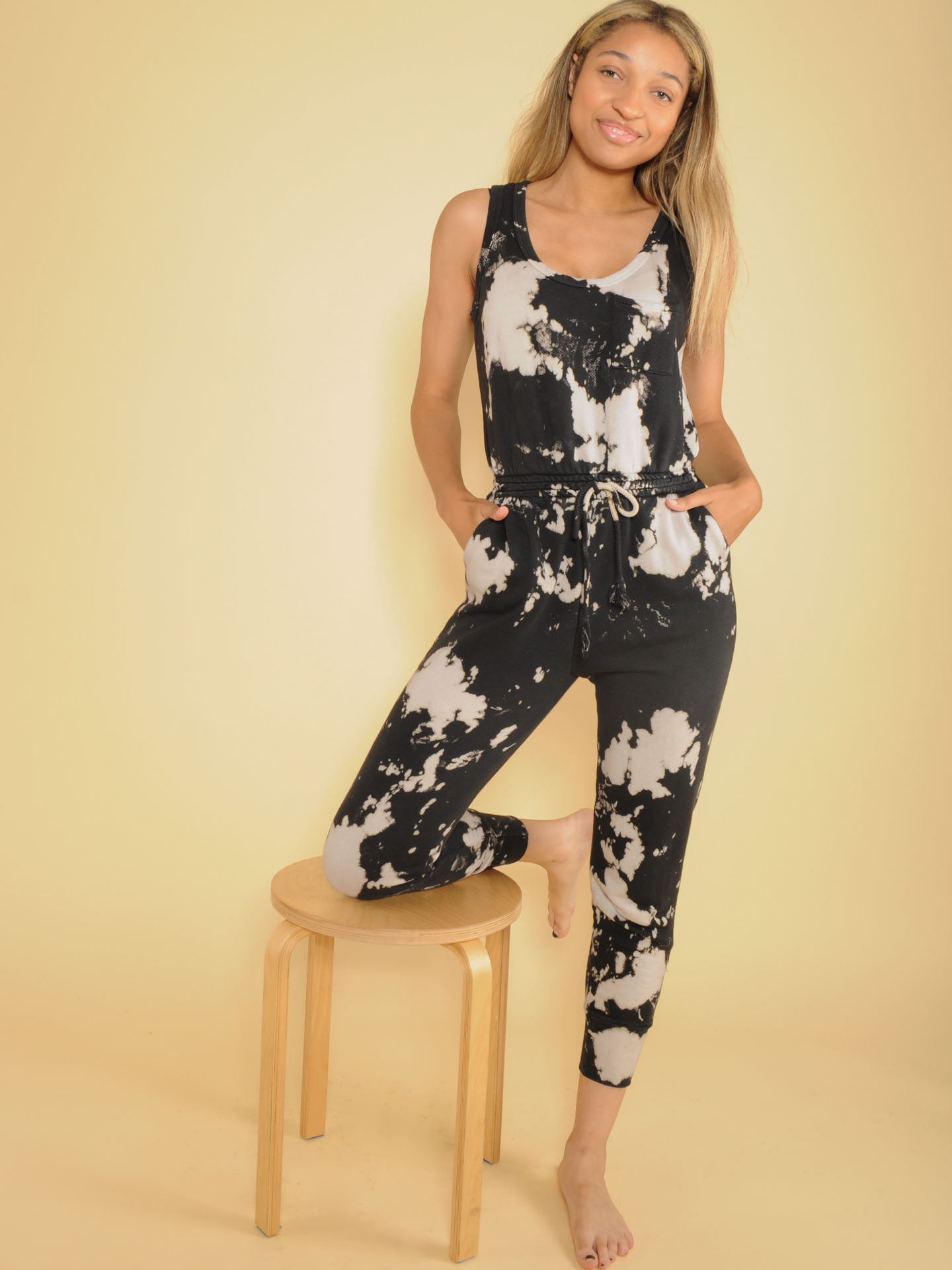Bleached Jumper Comfy One PIece Pattern Jogger Front