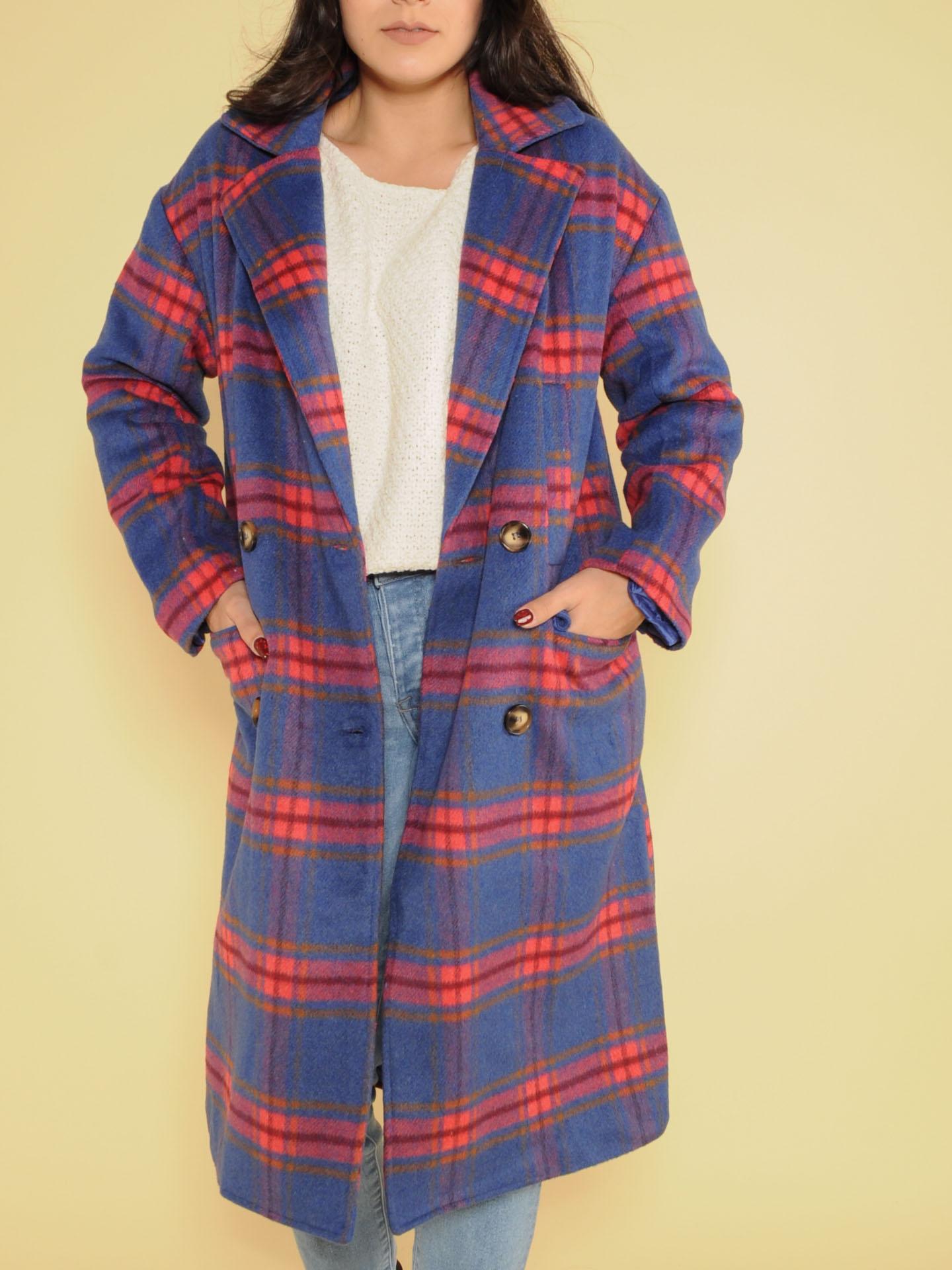 Brenda Plaid Trench Brilliant Blue Long Coat Front