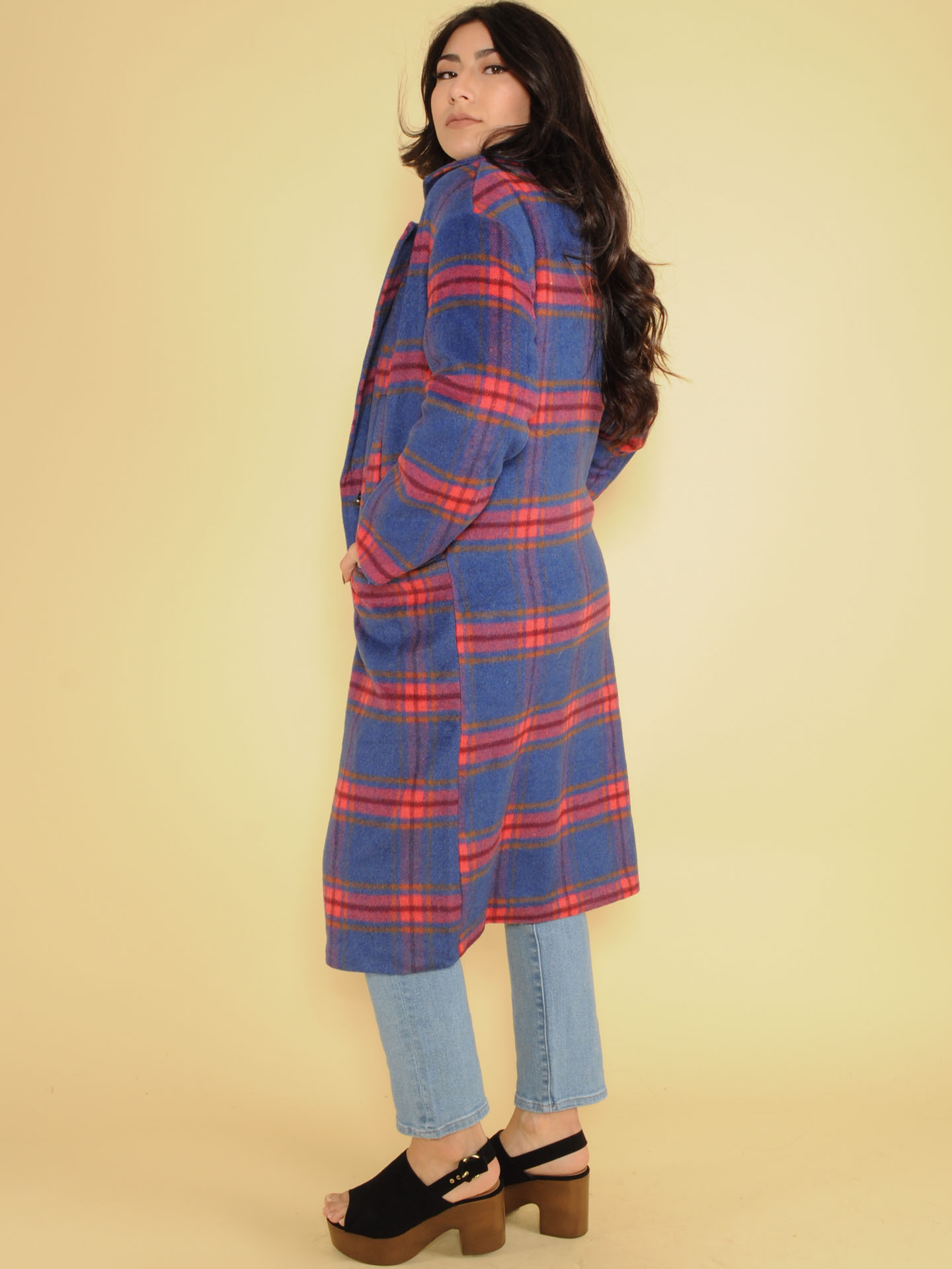Brenda Plaid Trench Brilliant Blue Long Coat Side