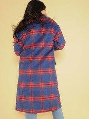 Brenda Plaid Trench Brilliant Blue Long Coat Back