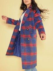 Brenda Plaid Trench Brilliant Blue Long Coat Side Close