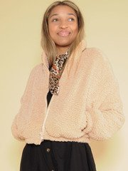 Karen Jacket Cropped Crushed Faux Fur Zip Up Front