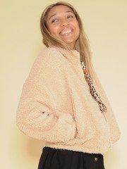 Karen Jacket Cropped Crushed Faux Fur Zip Up Side