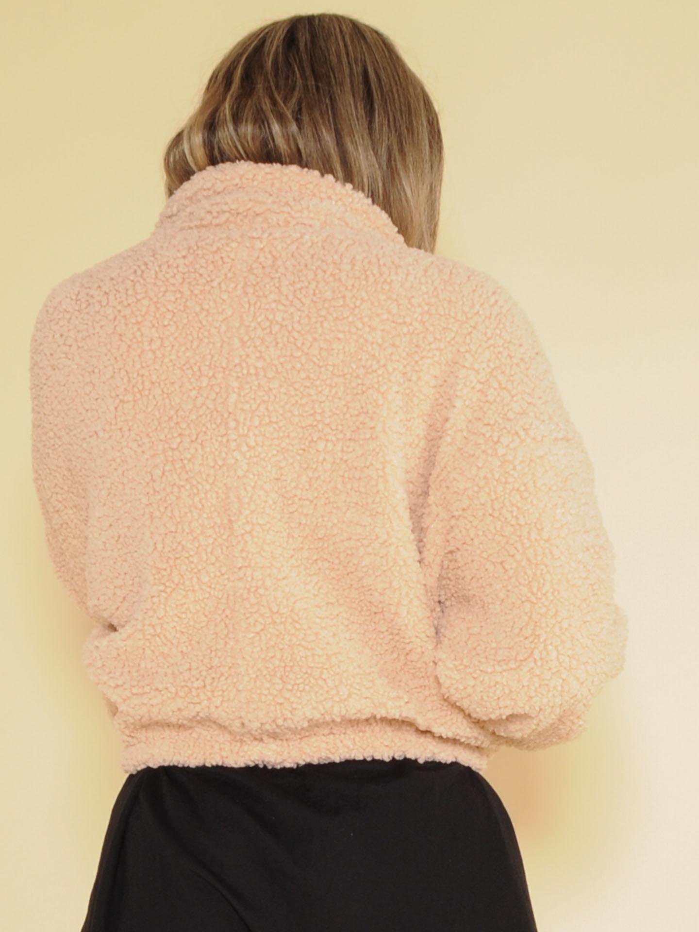 Karen Jacket Cropped Crushed Faux Fur Zip Up Back