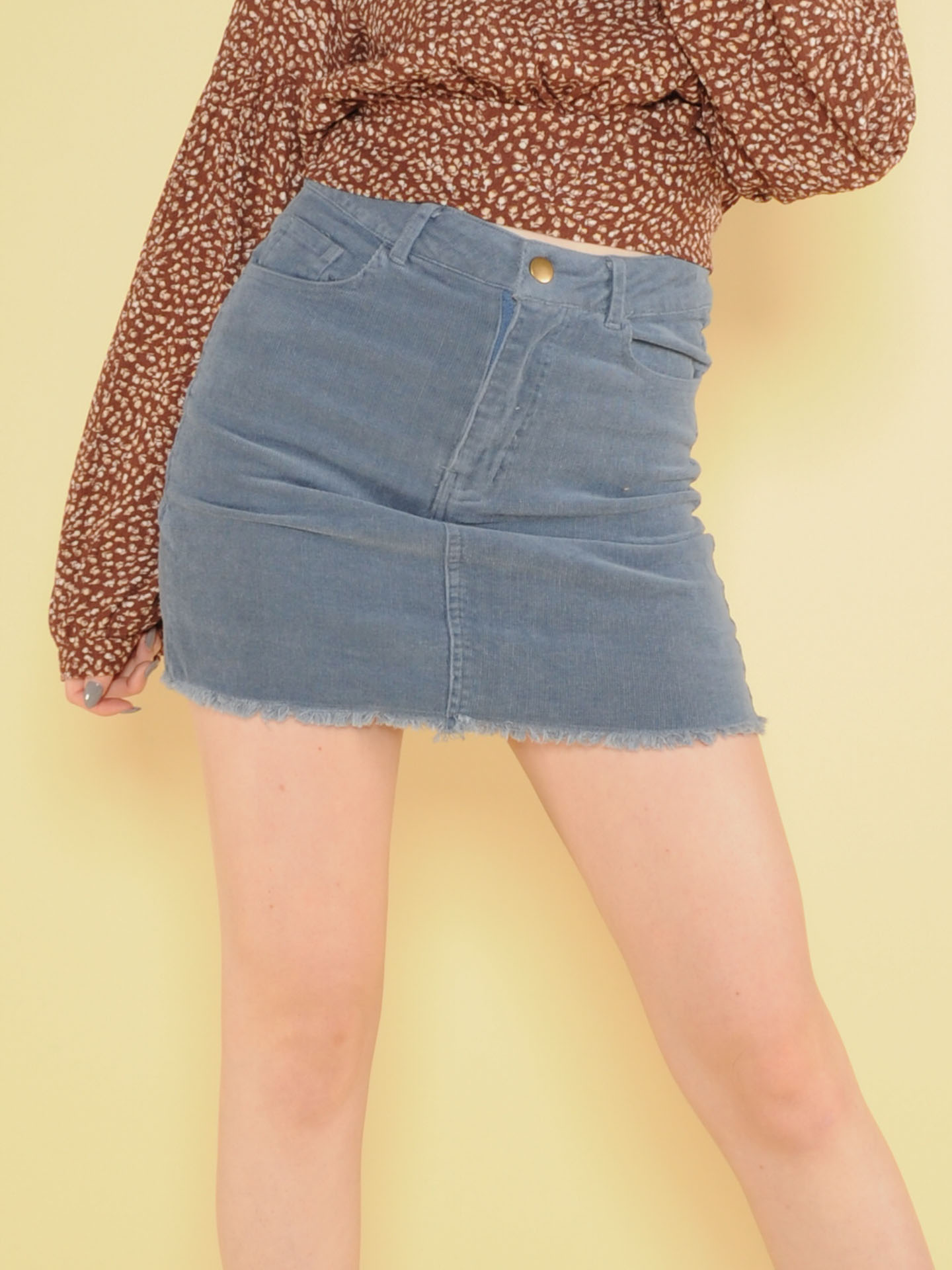 Tracy Skirt Corduroy Mini Denim Front
