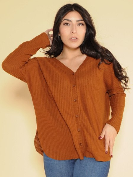 Heidi Cardi Waffle Knit Button Up Brown Front