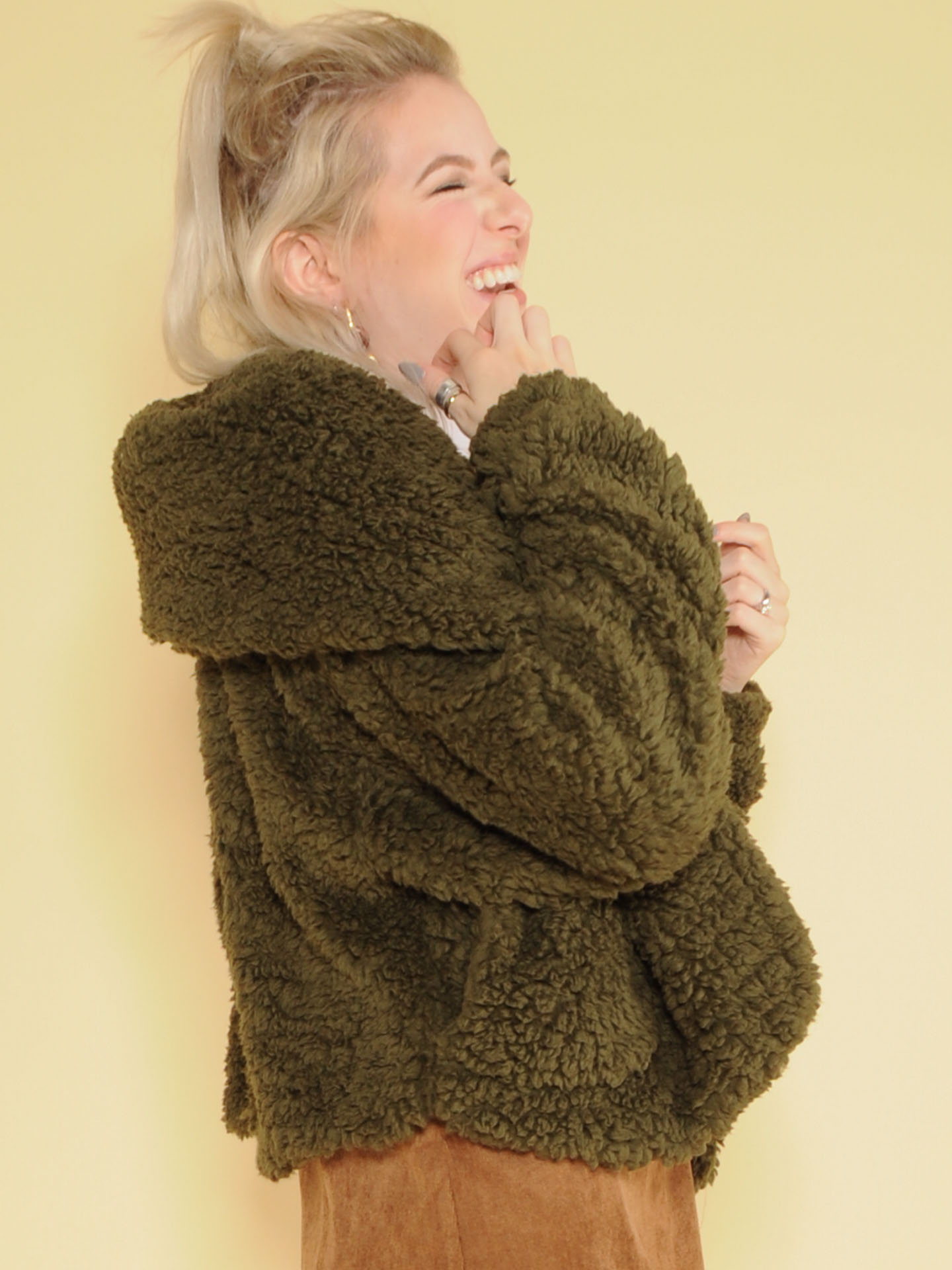 Snuggly Jacket Oopen Front Faux Fur Side