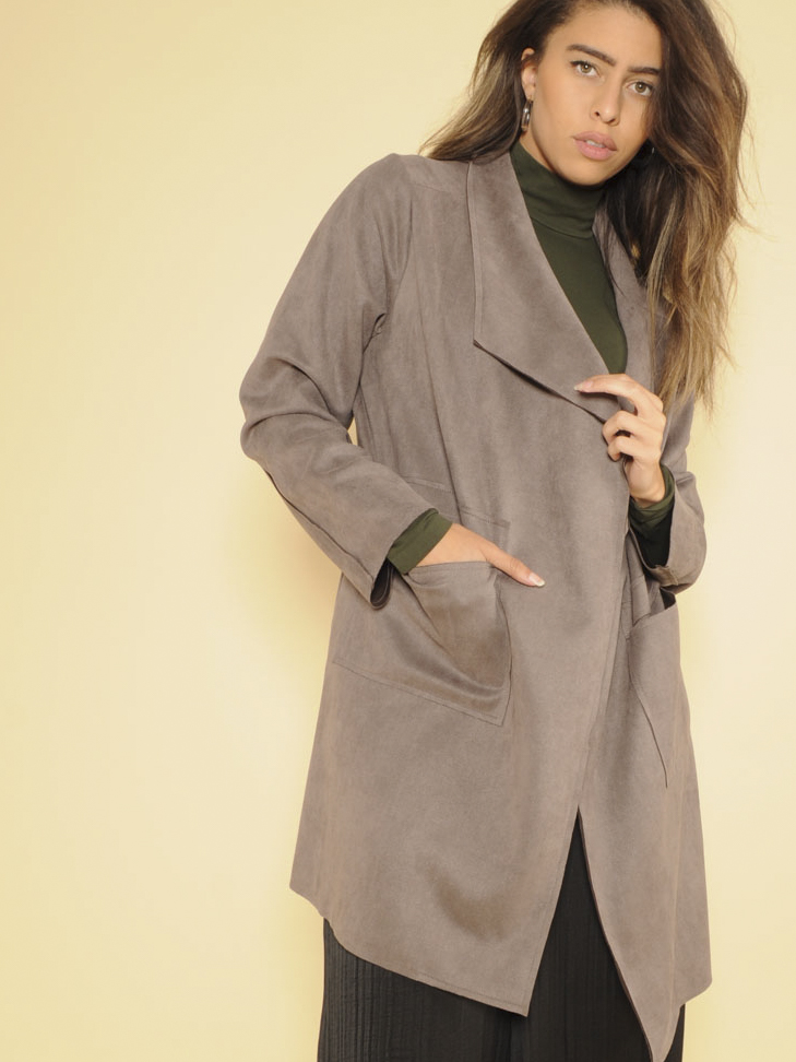 Angela Jacket Grey Vegan Suede Trench Front
