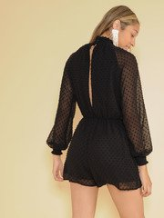 Patricia Dot Romper High Neck Sheer One piece Back