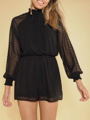 Patricia Dot Romper High Neck Sheer One piece Front