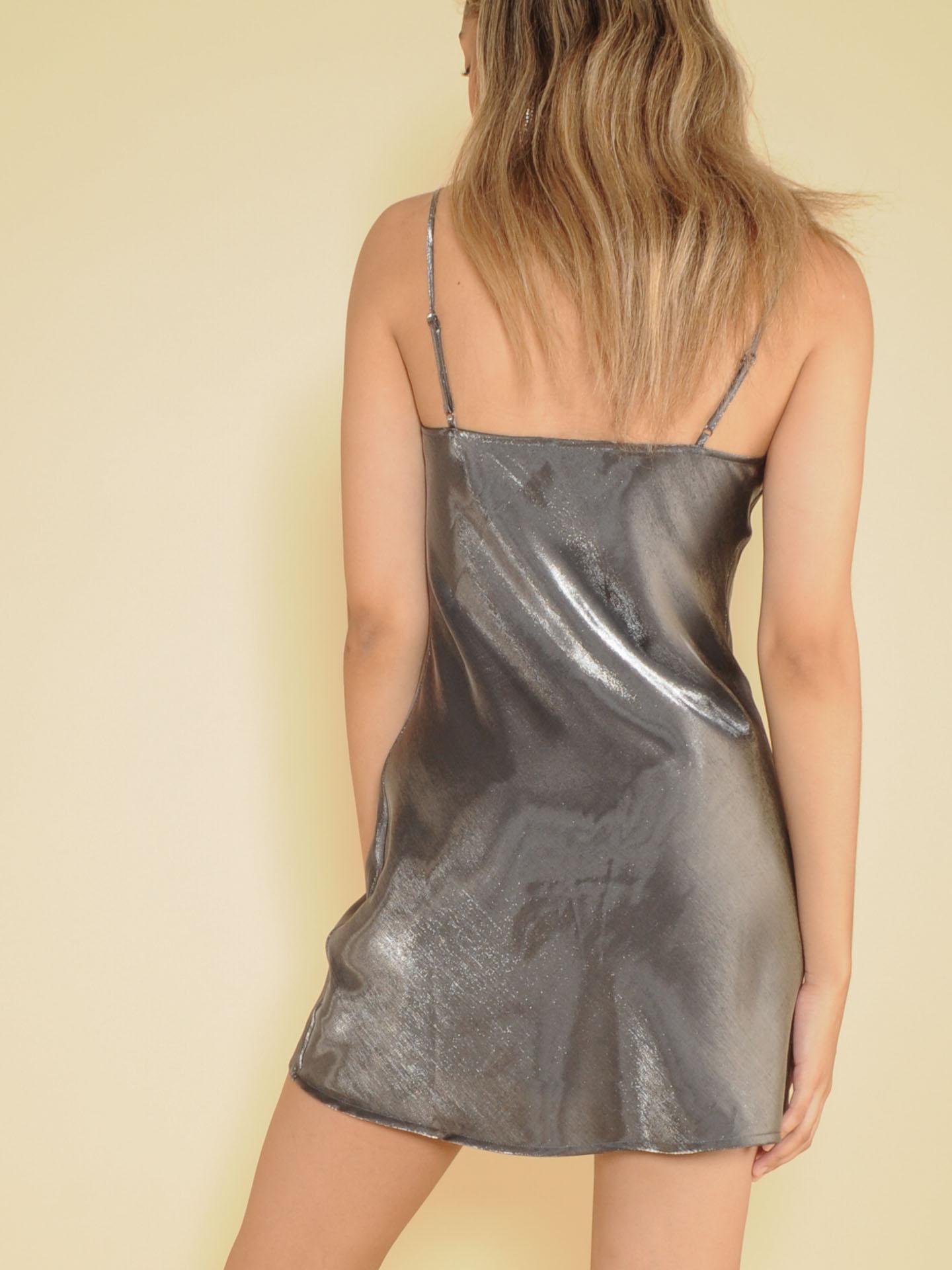 Sassy Dress Shiny Silver Silk Mini Back