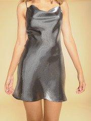 Sassy Dress Shiny Silver Silk Mini Front