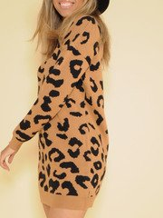 Into The Wild Sweater Dress Leopard Print Side