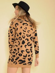 Into The Wild Sweater Dress Leopard Print Back