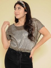 Shimmer Top  Silver Sparkly & Sheer Front