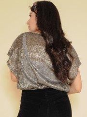 Shimmer Top  Silver Sparkly & Sheer Back