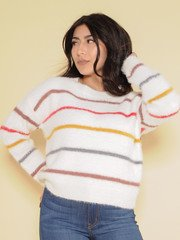 Tallulah Sweater  Color Striped & Fuzzy
