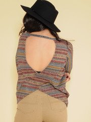 Hadley Striped Top 70's Inspired Long Sleeve Back