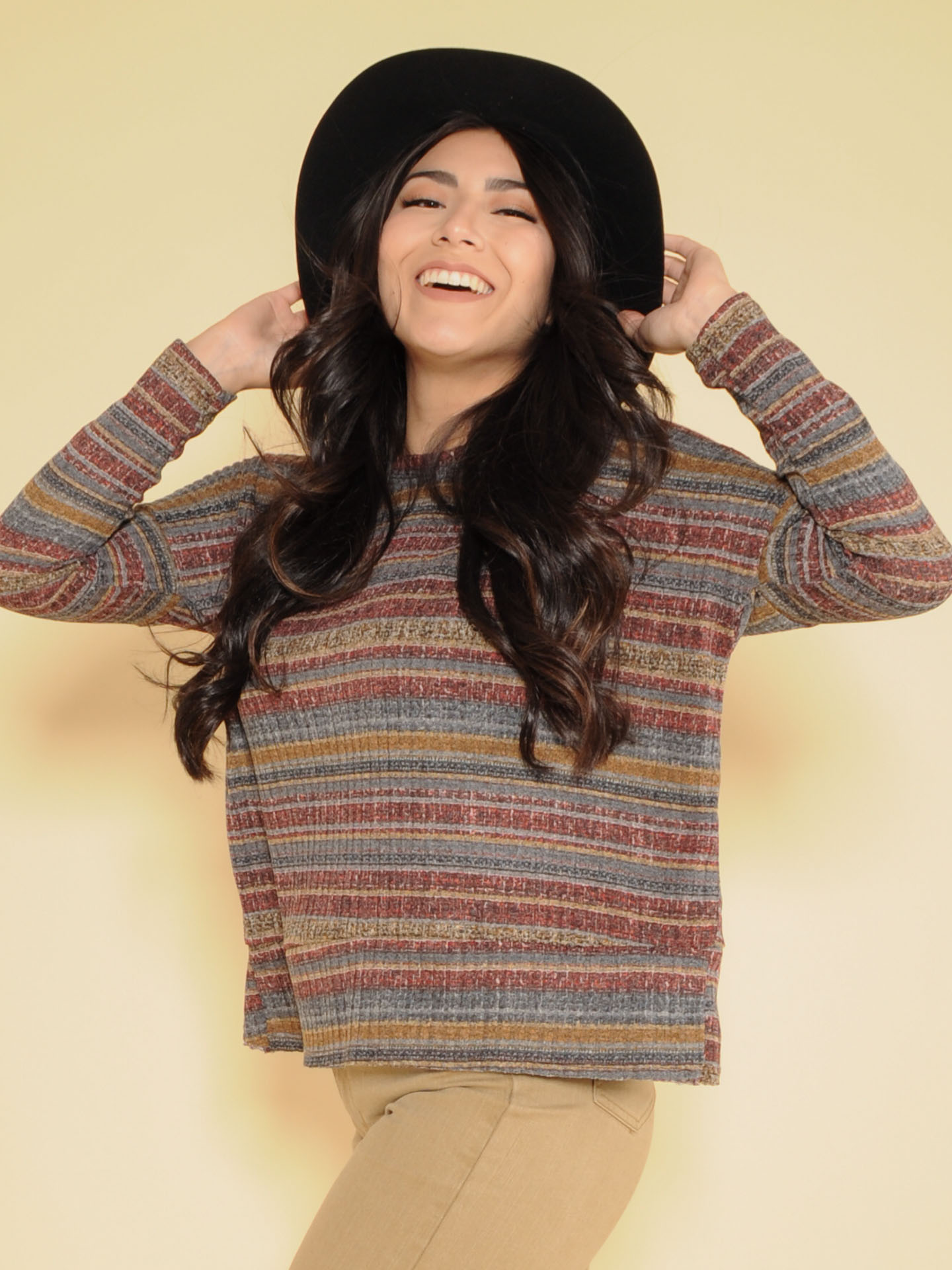 Hadley Striped Top 70's Inspired Long Sleeve Front