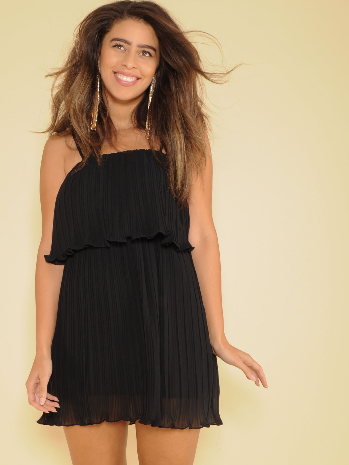 Sarah Dress Black Ruffle Layered Mini Front