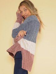Ryleigh Knit Sweater Soft Striped Crew Neck  Side
