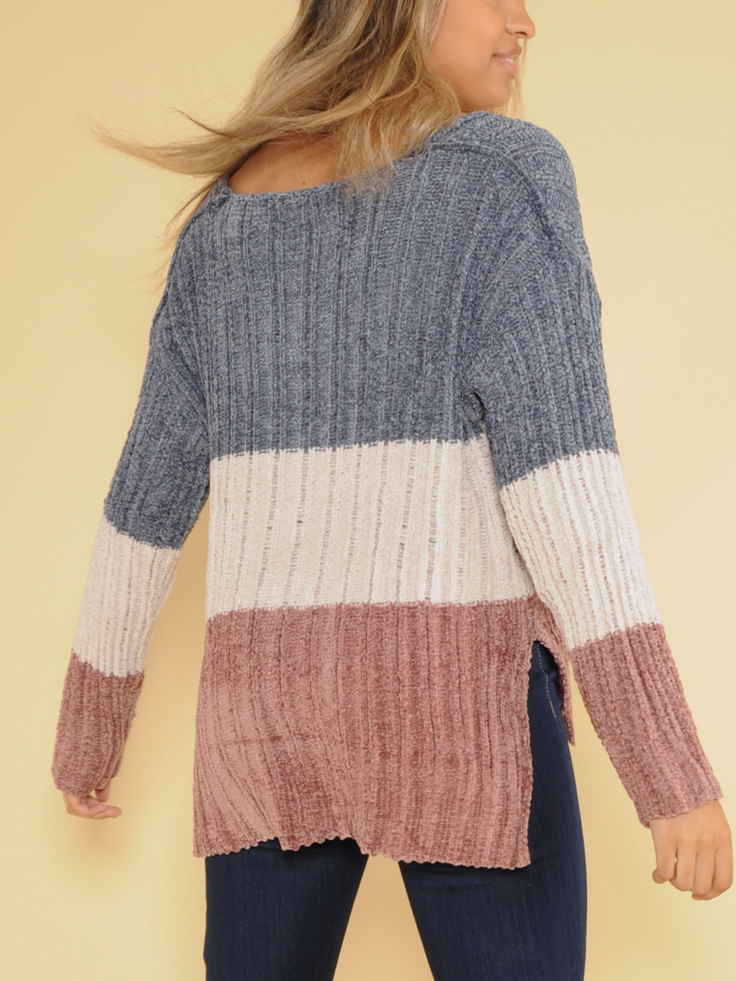 Ryleigh Knit Sweater Soft Striped Crew Neck  Back