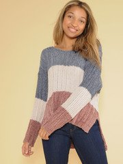 Ryleigh Knit Sweater Soft Striped Crew Neck
