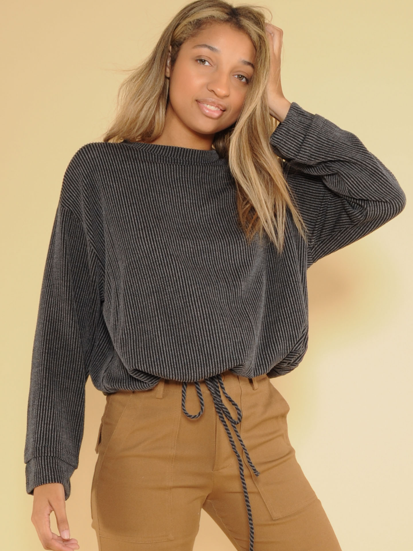 Effortless Long Sleeve Ribbed Cinched Thick Top Front