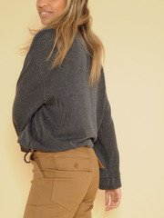 Effortless Long Sleeve Ribbed Cinched Thick Top Side