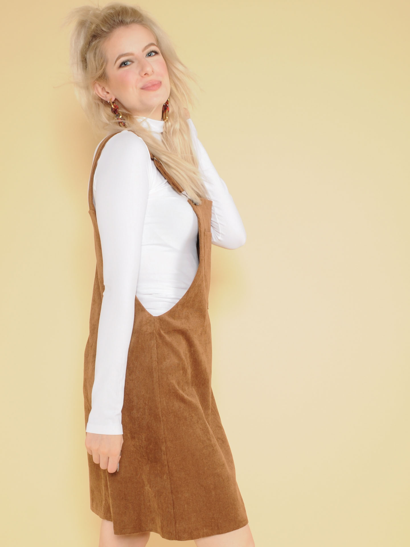 East Nash Overall Dress Corduroy Suede One Piece