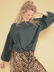 Emery Soft Top Oversized Cinched Long Balloon Sleeves Hunter Green