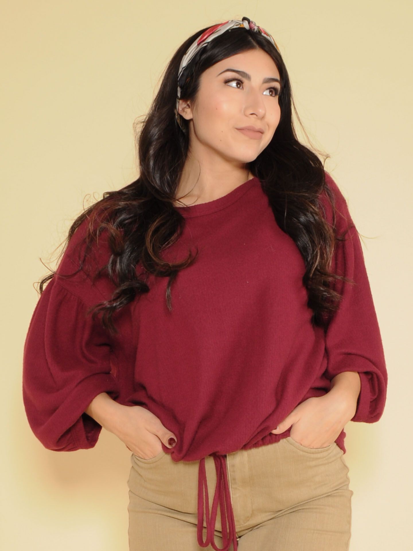 Emery Soft Top Oversized Cinched Long Balloon Sleeves Burgundy Front