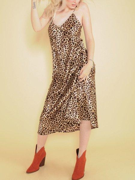 Samara Leopard Dress Silk Maxi Spot Pattern Front