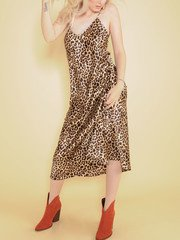 Samara Leopard Dress Silk Maxi Spot Pattern Front