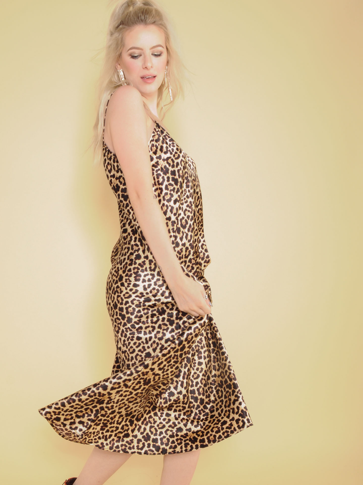 Samara Leopard Dress Silk Maxi Spot Pattern Side