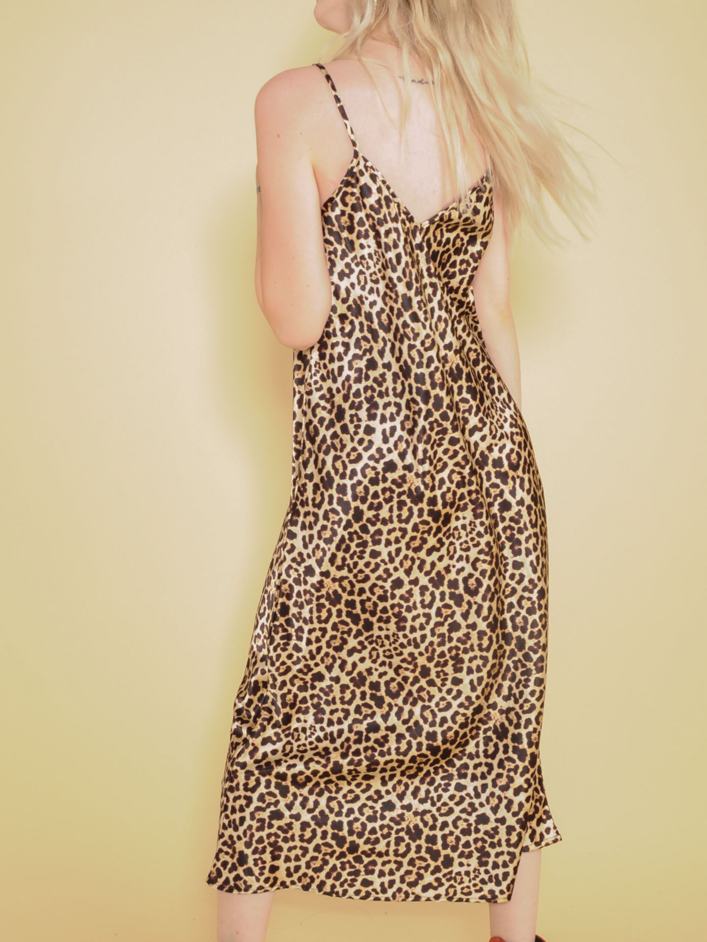 Samara Leopard Dress Silk Maxi Spot Pattern Back