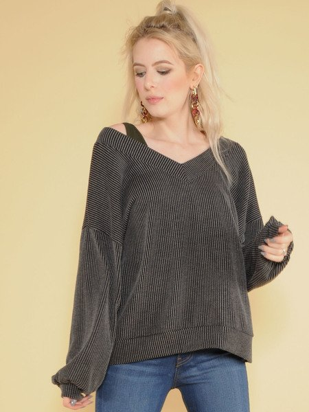 Sweetie Long Sleeve Ribbed V Neck Top