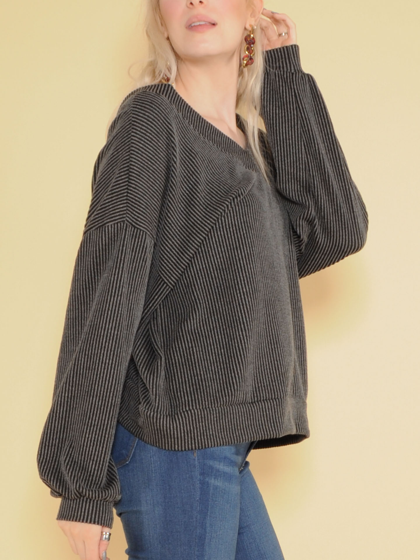 Sweetie Long Sleeve Ribbed V Neck Top Side