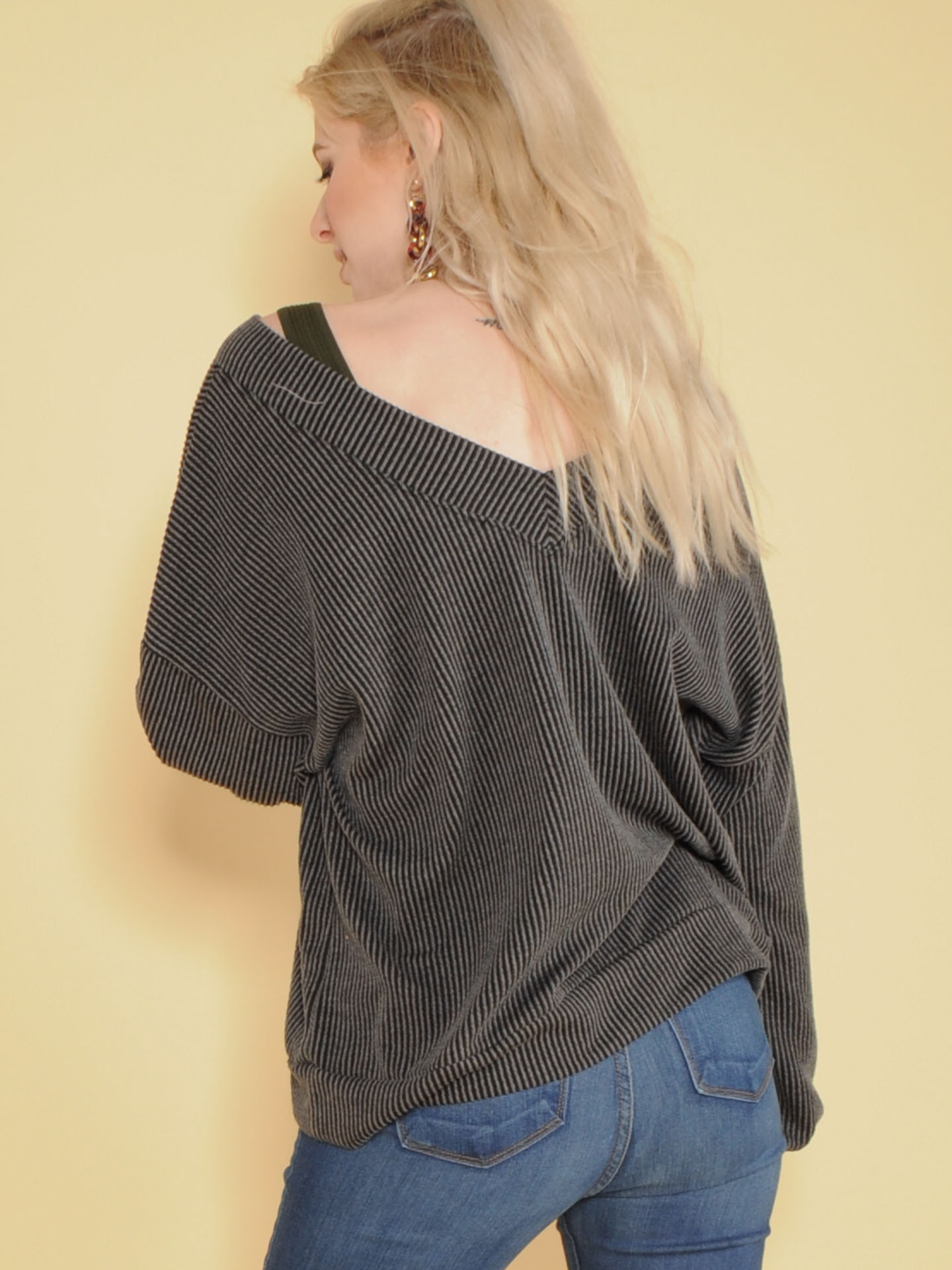 Sweetie Long Sleeve Ribbed V Neck Top Back