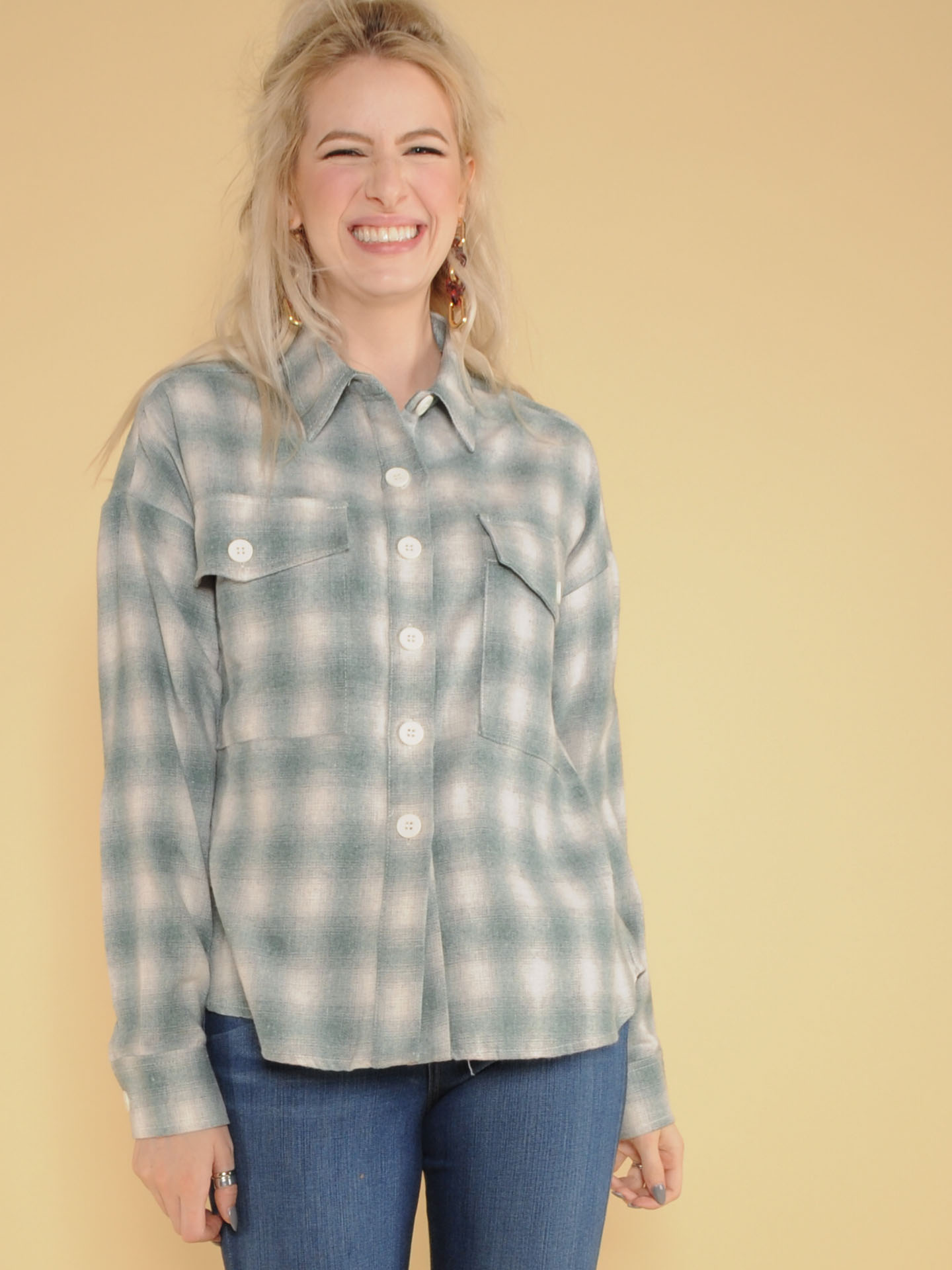Soft Blue Checker Button Up Nyla Flannel Top