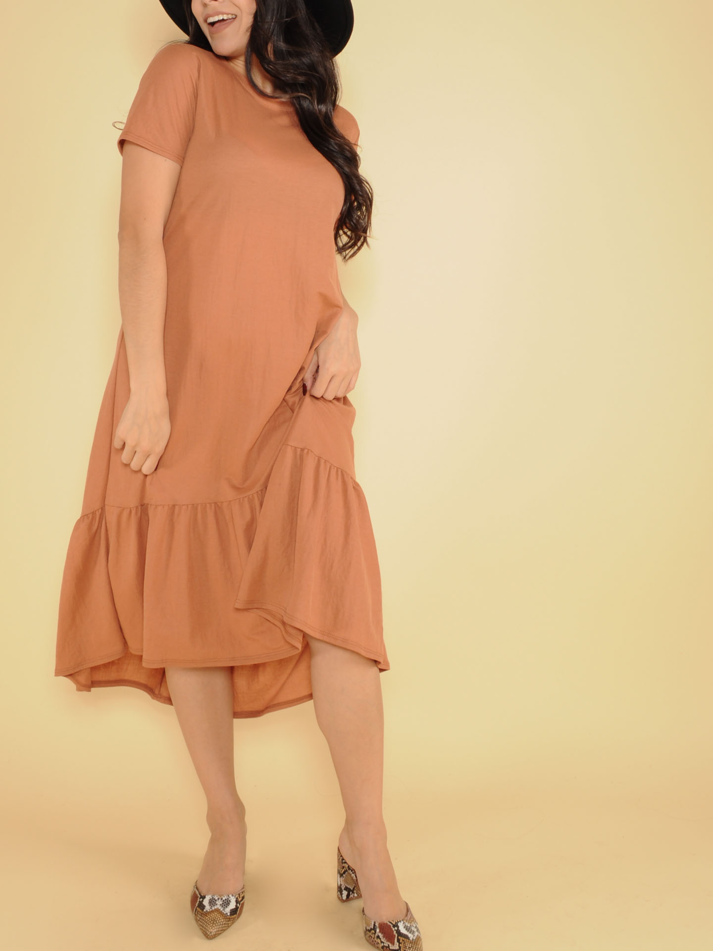 Ruffle Dress Maxi Rust Tee Front