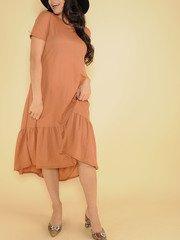 Ruffle Dress Maxi Rust Tee Front
