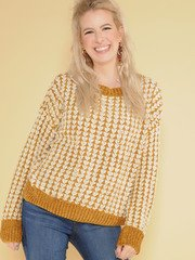 Kathleen Sweater Mustard & White Tight Soft Knit Front